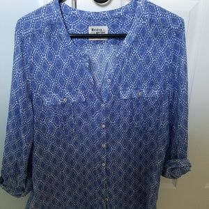 Blue button down top from anthropologie.